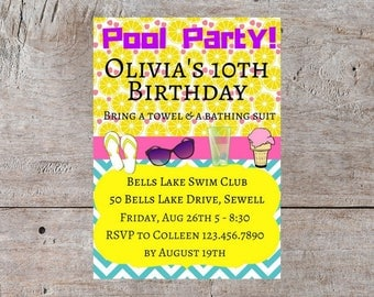 Summer Party, Birthday Party Invitation, Pool Party Invitation, Invitation Birthday Party, Summer Party Themes, Party Pool, Pool Party Theme