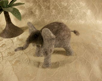 Needle Felted Elephant, Felted Elephant, Gray Elephant