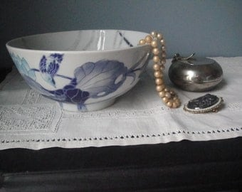 Vintage blue, grey and white Asian bowl