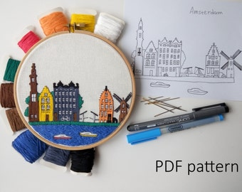 Amsterdam Hand Embroidery pattern PDF.Embroidery Hoop art, Wall Decor, Housewarming Gift. Free Hand embroidery guide!