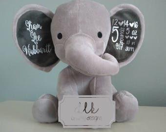 Personalized Stuffed Elephant, Baby Stuffed Animal, Baby Stats, Birth Announcement, Stuffed Elephanti, Nursery Decor, Baby Gift