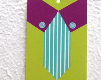 100 FASHION TAGS CLOTHING Accessories Boutique Price Tags  Cute Green Shirt & Tie Tags with  Plastic Loops