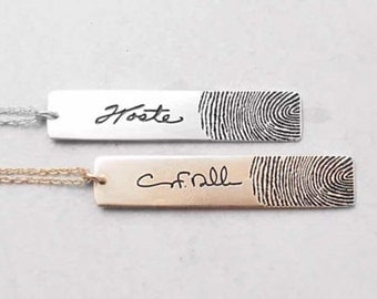 20% OFF :Actual Fingerprints Bar Necklace, Personal Handwriting Engraved-925 sterling silver with gold plated