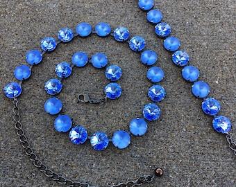 BLUEJAY Swarovski crystal 12mm jewelry set - necklace, bracelet, and earrings - matte light sapphire blue