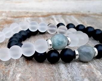Couples Bracelet His and Her, Aquamarine Matching Bracelet Set, Black Onyx, Snow Quartz , Girlfriend Boyfriend Gift, Couples Gift Set