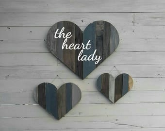 Set of 3 Distressed Pallet Hearts, rustic wall decor, reclaimed wood sign cutout