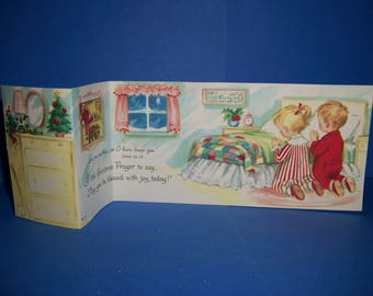 Vintage Unused 1950's  Children's Christmas Card, Religious Cards, Saying Their Prayers, Fold Out, Sunshine Cards