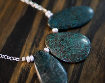 Large Turquoise & Freshwater Pearl Chain Necklace
