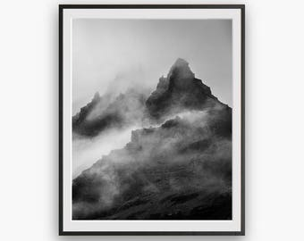Black and White Mountain Peak Photography, Modern Minimalist, Digital download, Minimal Wall Decor, Scandi Print, Naturel Art, Large Poster