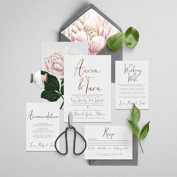 Floral Wedding Invitation Forever Yours Foil Printable DIY