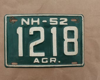1952 New Hampshire Agricultural  License Plate