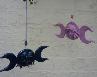 Hand Crafted Large Triple Moon Goddess Head Wicca Wiccan Hanging Decoration