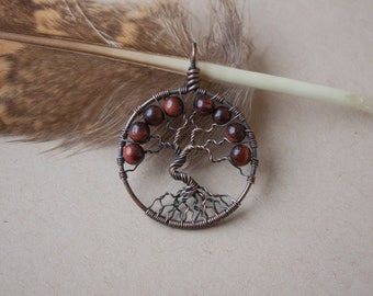 Tree of life pendant red tiger eye - tree pendant - handmade necklace - unique jewelry - copper tree - gift sister - anniversary