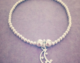 Sterling Silver Moon and Stars Charm Bracelet