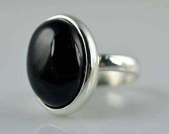 Black Onyx Ring ~ Black Onyx Silver Ring ~ Black Onyx ~ 925 Solid Sterling Silver ~ Handmade Ring ~ Custom Sizes Available 3 to 14 US