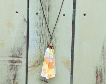 Tassel necklace made from vintage sheets. Upcycled necklace. Tassel necklace.