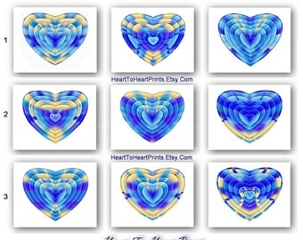 Blue Nursery Art Sky Blue Heart Prints Royal Blue Bedroom Art Blue Love Wall Decor Light Blue Nursery Decor Romantic Art Love Girls Room Art