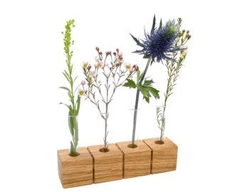Flower vase | Vase made of wood - oak | Echtglass | A great eye-catcher. Select – 1, 2, 3 or 4 glasses