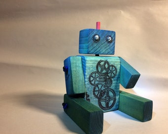 Handmade Blue Green Wooden Robot