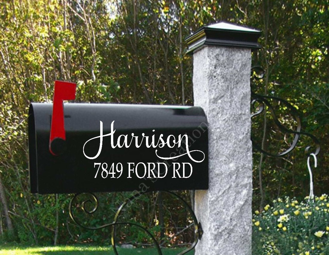 Personalized mailbox name mailbox decals street address - Unique mailbox ideas for your home ...