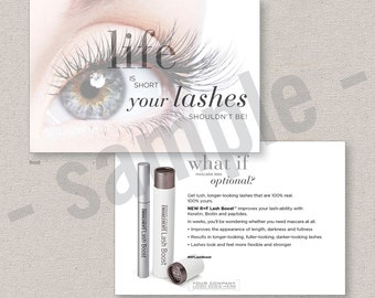 lash boost  // postcard  // flyer // EDITABLE digital file // skincare // Rodan+Fields inspired // INSTANT DOWNLOAD // 2-sided