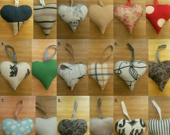Handmade hanging fabric hearts