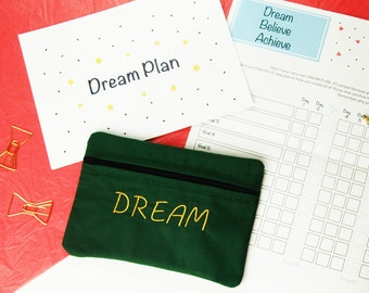 Dream Plan - Goal setting kit for success. 5 x 7 embroidered zip bag pouch, A5 step by step goal setting guide, A3 21 day action planner