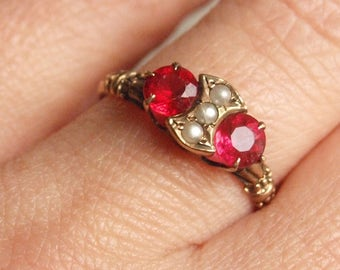 Victorian Seed Pearl and Red Stone Ring