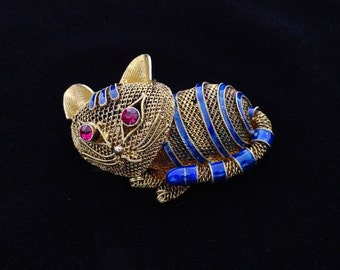 Old Chinese Brooch Cobalt Blue Enamel Gold Wash Mesh Sterling 925 Red Rhinestone Pin Vintage