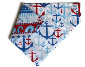 Dog Bandana, Nautical and Anchors Dog Bandana, Dog Collar Bandana, Reversible Dog Bandana, Cat Bandana, No Tie Bandana, Dog Gift, Cat Gift