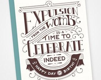 Birthday expulsion letterpress card