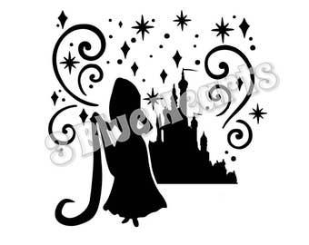 Rapunzel Castle Silhouette svg studio dxf pdf jpg, Tangled
