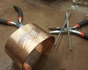 Hand-crafted, Etched Chevron Bronze Bracelet Cuff, 1 1/2 inch wide