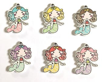 10 Mermaid Buttons ~ Under The Sea Buttons ~ Wooden Buttons ~ Mermaid Embellishments ~ Card Making ~ Scrapbooking ~ Sewing
