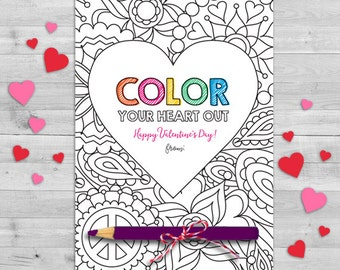 Color Your Heart Out Valentine, Crayon Valentines Day Card, Chalk Classroom Valentines Cards, Valentine Gift Tags, Classroom Valentines Card