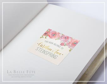 "WATERCOLOR FLORAL ""This Book Belongs To"" Book Plate Labels in blush and gold"