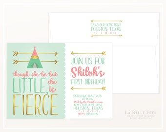 Though She Be But Little SHE IS FIERCE Invitation in mint, coral and gold, with teepee and arrows