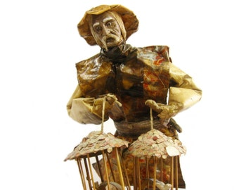 """Vintage Paper Mache  Mexican Folk Art, Man with Bird Cages, 12"""" Tall"""