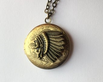 Native American Indian Chief Locket.