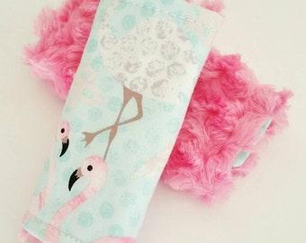 Flamingo Car Seat Covers, Reversible, Flamingo Baby, Flamingo Nursery, Carseat Strap Covers, Strap Covers, Flamingo Baby Bedding