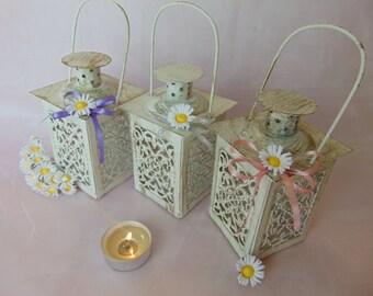 Set of 10 Mini Daisy Lanterns,Wedding Candle Holders,Spring Wedding Decor,White Mini Lanterns,Rustic Lantern,Home Decor,Mini Candle lanterns