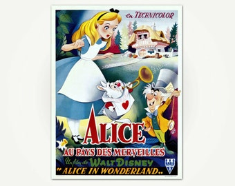 Alice In Wonderland (Alice au pays des merveilles) Vintage Movie Poster Print - French Movie Poster Art