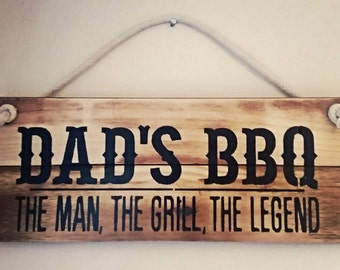 Dad's BBQ Sign, Wooden Sign, Barbecue, Rustic Sign, Father's Day, Dad, Daddy, Personalised, Outdoor Sign, Garden Sign, Recycled Wood,
