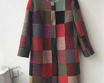 wool patchwork coat made in boro technique