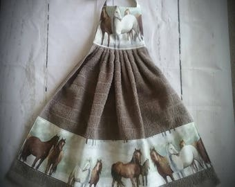 Horse kitchen towels Western towel Hanging towel Kitchen towels with ties Horse decor Western decor Hanging kitchen towels