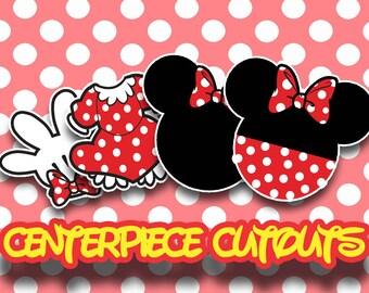 Minnie Mouse Centerpiece Cutouts - Digital File - Printable