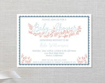 Floral Baby Shower Invite - Simple Floral Design - Gender Neutral - Digital File, 3 color options