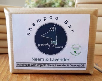 Organic Dog Shampoo Bar Neem & Lavender. Natural Soap for Dogs. Dog Care for itchy, flakey, sore skin and Dandruff. 160g / 5.64 oz Large