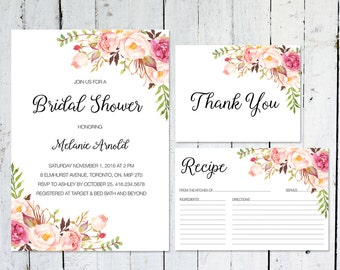 Bridal Shower Invitation, Boho Bridal Shower Invitation, Bridal Shower Printable, Thank You Cards, Recipe Card, Bridal Shower Kit