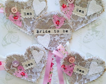 Bride to be - hen party badge rosette set